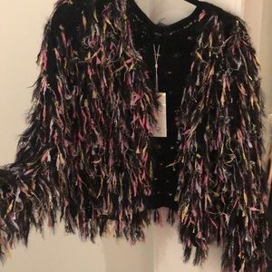 Jackets & Blazers - Rainbow sparkle fringe jacket! NEVER WORN.